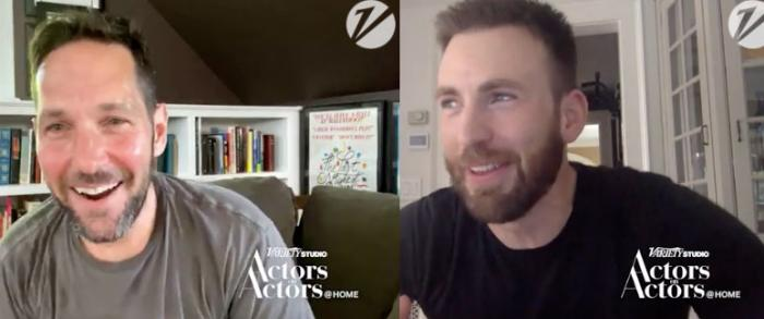 Paul Rudd and Chris Evans in screenshots from their Variety video chat.