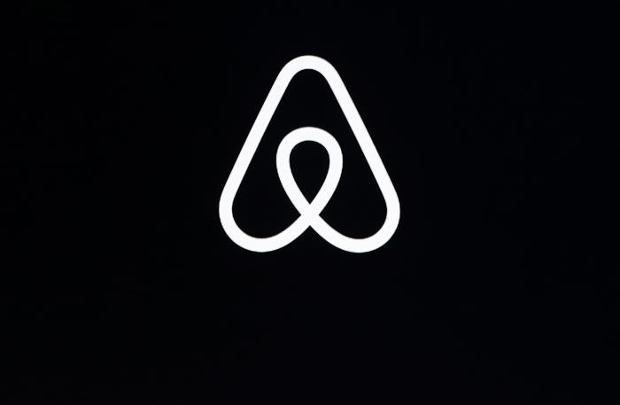 An Airbnb logo during an event in San Francisco