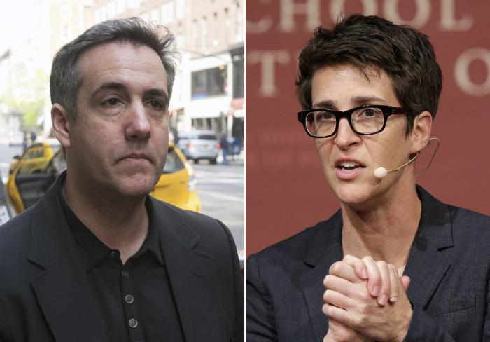 Michael Cohen, left, and Rachel Maddow, right