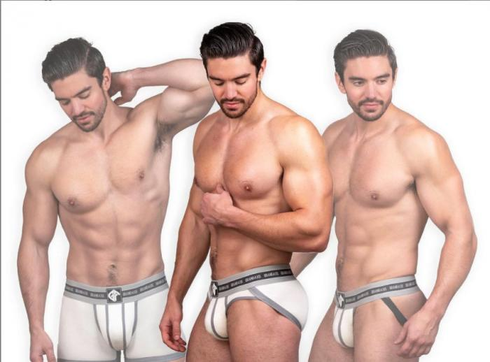 Steve Grand in a promotional pic for his Grand Axis underwear brand