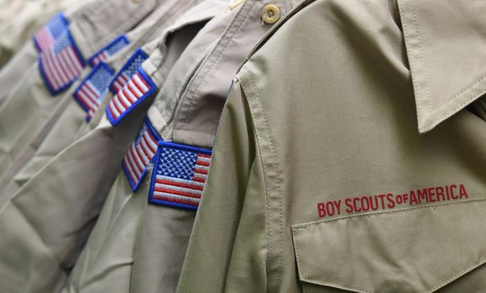 Boy Scouts of America uniforms are displayed in the retail store at the headquarters for the French Creek Council of the Boy Scouts of America in Summit Township, Pa.