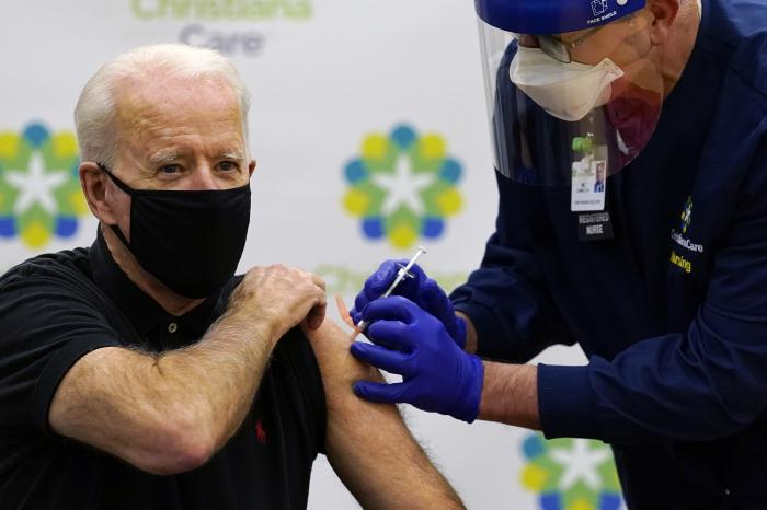 President-elect Joe Biden receives his second dose of the coronavirus vaccine at ChristianaCare Christiana Hospital in Newark, Del.