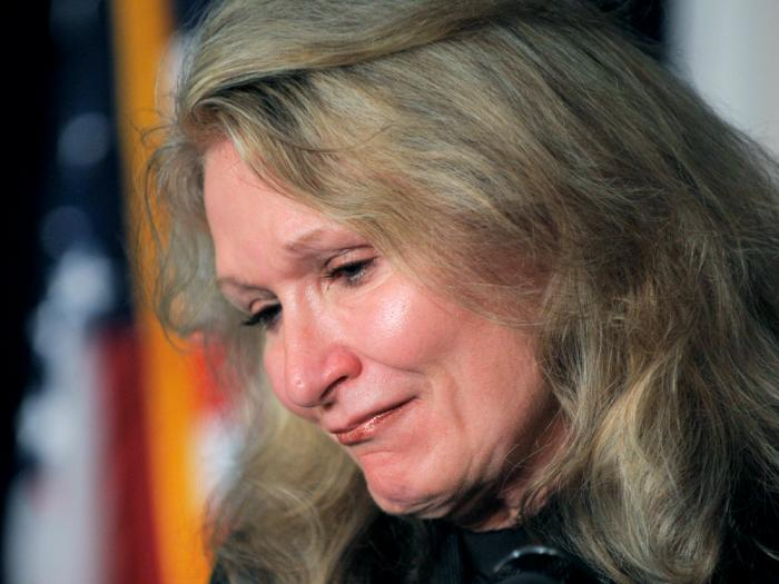 In this Dec. 8, 2008, file photo, Alice Hoagland, the mother of 9/11 victim Mark Bingham, speaks during a news conference following a pretrial session for Khalid Sheikh Mohammed and his four co-defendants in Camp Justice on the U.S. Naval Base in Guantanamo Bay, Cuba