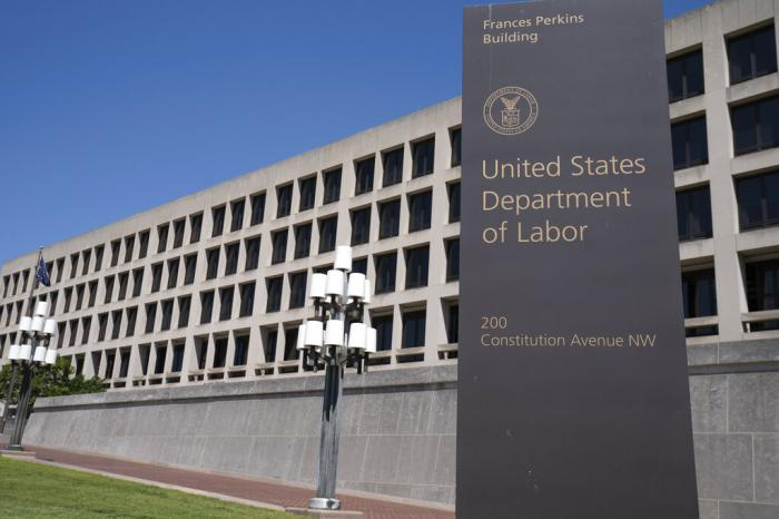 The entrance to the Labor Department is seen near the Capitol in Washington.