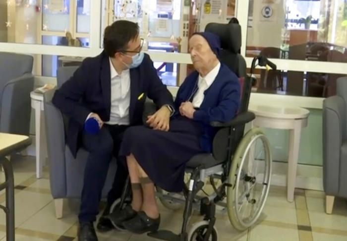 Sister Andre, born Lucile Randon, is interviewed by David Tavella, Communications Manager for the Sainte Catherine Laboure Nursing Home in Toulon, France.