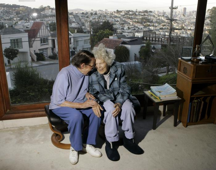 Phyllis Lyon, left, and Del Martin are photographed at home in San Francisco.