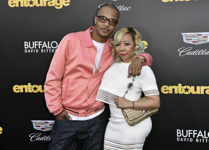 """T.I., left, and Tiny arrive at the Los Angeles premiere of """"Entourage"""" at the Westwood Regency Village Theatre."""