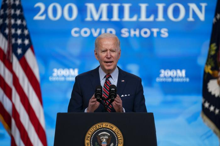 President Joe Biden speaks about COVID-19 vaccinations at the White House, in Washington.