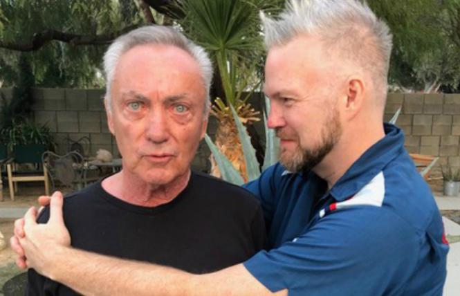 Udo Kier and Todd Stephens on the set of 'Swan Song'